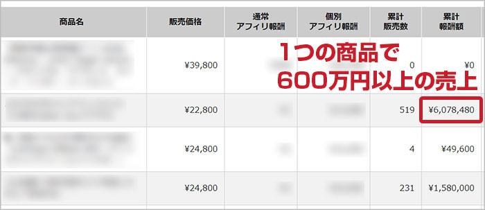 1つの商品で600万円以上の売上
